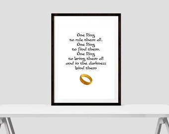 One ring to rule them all, one ring to find them - LOTR Quote - Printable Download
