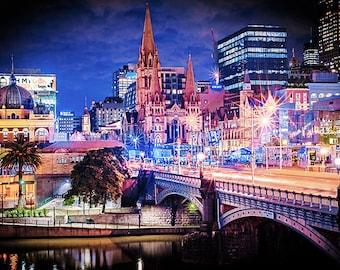 Melbourne photography fine art photograph city wallart urban decor Princess Bridge Gateway 3 FREE SHIPPING within AUSTRALIA