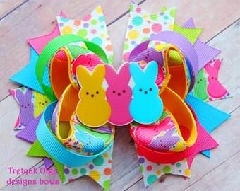 Easter Hair Bow-Easter Bunny Hair Bow-Marshmallow bunny-Bunny Hair Bow -Some Bunny Loves Me-Boutique Hair bow-Toddler Girl Rabbit Hair bow
