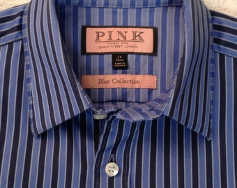 Classic Thomas Pink 1980's/1990's navy and lighter blue stripes men's shirt 100% cotton