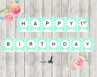 diy happy 1st birthday banner etsy