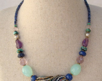 Lapis lazuli necklace, Amethyst, Turquoise, Chalcedony and seed beads