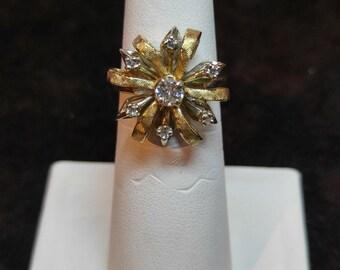 Vintage 14k Two Tone Ribbon Diamond Ring