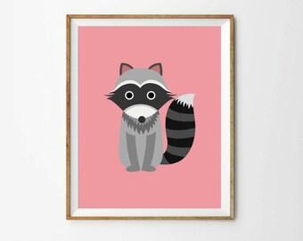 Raccoon Print, 5 x 7 in, 8 x 10 in, Nursery art, Baby girl illustration, Baby art, Nursery room art, Printable Art