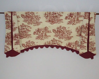 Leisure Toile Trumpet Window Valance in Maroon