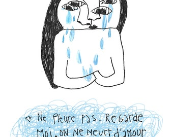 Illustration Crying girl + quote