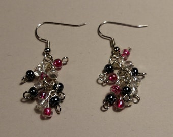 Pink, Gray, and White Pearl Earrings