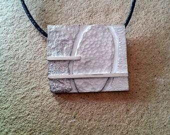Textured silver pendant, silver pendant, pendant, large square, pendant modern,