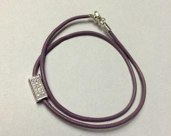 Purple Leather Charm Bracelet