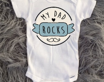 My Dad Rocks, Fathers Day Shirt, I love Dad, Father and Son Shirt, Fathers Day Tee, Baby First Fathers Day, SALE, Papa Shirt, Dad Shirt
