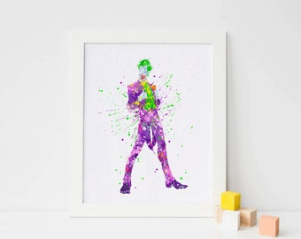 The Joker poster, Batman Villains DC Comics joker art Watercolor joker painting Art joker Print joker wall art Batman joker batman nursery