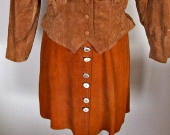 1970s Western Soft Deerskin Skirt Horn Buttons
