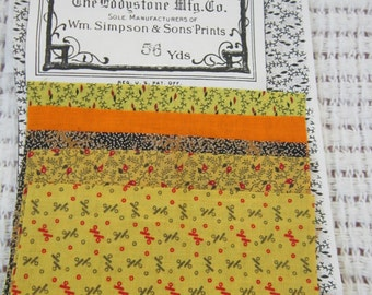 Yellow Calico Swatches from 19th Century