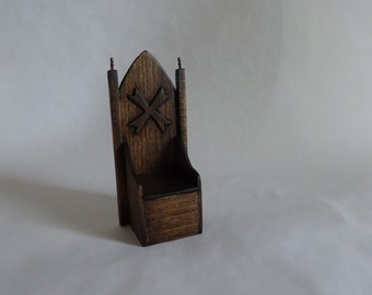 Dollhouse miniature medieval wooden throne, 1:12 scale royal castle