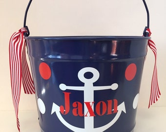 Personalized Nautical Bucket- Monogrammed Bucket- 10 Quart Bucket- Easter Bunny Bucket- Personalized Children's Gift- Anchor Bucket- Pail
