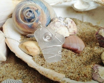 Clear Natural Sea Glass Wire Wrapped Pendant