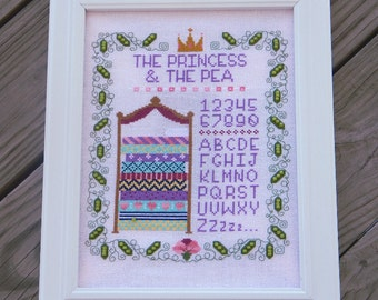 The Princess and the Pea Sampler - A Fairy Tale Cross Stitch Pattern