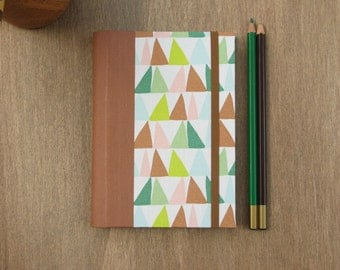 2016 - 2017 Agenda in Brown and Green triangles - weekly planner - A6 size / small size - Ready to ship
