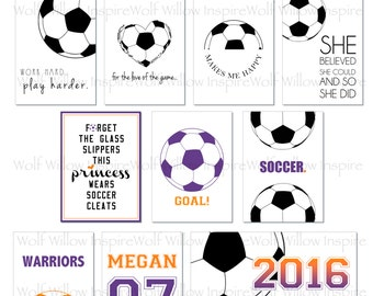Soccer/Football Set - Project Life Cards|Pocket Cards|Personalized|Little League|Jersey Number|Team Colors|Black & White|Goal|Soccer|Play