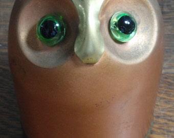 Vintage Coppercraft Copper & Brass Owl Bank