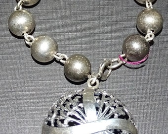 Unique Sterling bead  bracelet with sterling large dangle