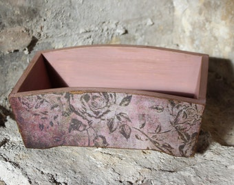 Wooden storage box, rustic decoupage box, vintage style, rustic distressed pink kitchen or bathroom storage, bread basket, housewarming gift