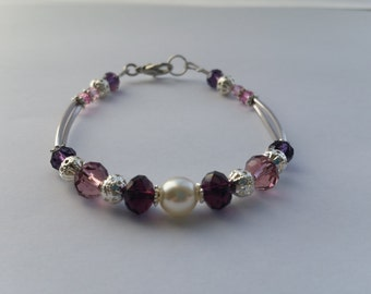 Handmade Bracelet with Purple and Pearl Beads