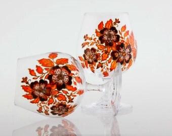 Brandy Snifters Brandy Cognac Liqueur Wine Hand Painted Glasses Set of 2