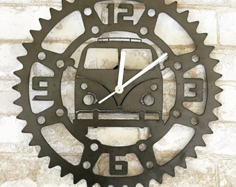 Rustic Metal VW Bus Garage Clock- Perfect for the Garage, Office or Man cave!