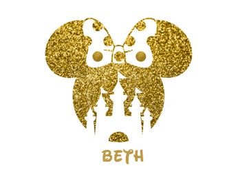 Minnie Mouse Castle Glitter Girl Personalized Girly Girl Matching Family Mother Iron On Decal Glitter Disney Iron Vinyl Decal for shirt