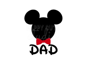 Personalized with name Dad Bowtie Necktie Daddy Man Father's Father Day Matching Family Mickey Mouse Disney Iron On Decal Vinyl 4 Shirt 037