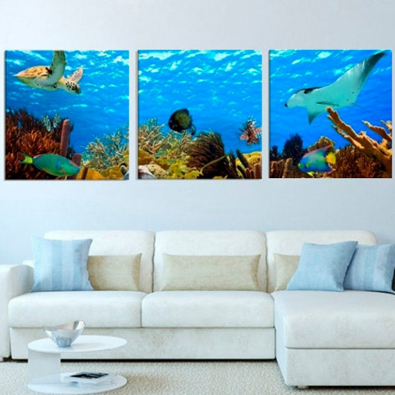 Extra Large Wall Art Fish Turtle Underwater Life Ocean