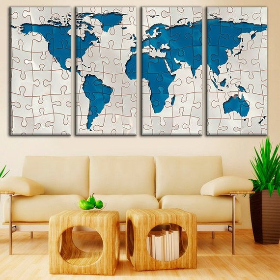 world map compiled from puzzle extra large wall art framed. Black Bedroom Furniture Sets. Home Design Ideas