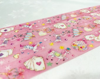 Princess horse washi tape 5M circus horse fancy fairy tale masking tape playing card wonderland deco sticker tape princess party pink tape