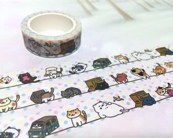 street Cat washi tape 10M x 1.5CM cozy cat lazy cat kawaii cat washi masking tape flower pussy cat sticker fat cat planner diary meow gift