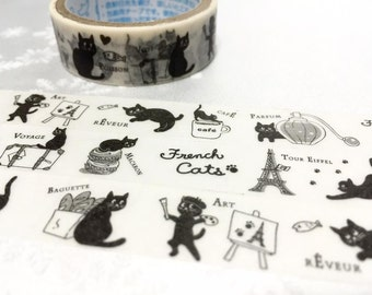 Cozy Cat painter tape 3M French cat macaron cat washi tape voyage cafe cat painting art cat tour Eiffel black cat sticker tape planner diary