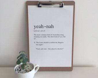 Yeah Nah | Art Print | Australian Humour | Funny Art | A4 Unframed - Free Shipping within Australia