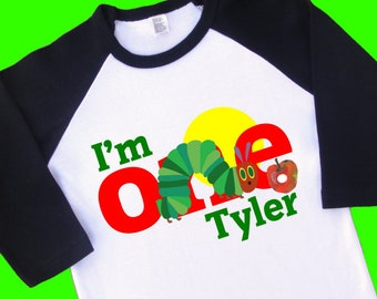 I am One Hungry Caterpillar Birthday Shirt. Personalized Raglan with Name. [Available for 1st Birthday & 2nd Birthday [T Shirt, Tee] (35033)