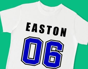 Football Number Jersey Tee. Personalized Birthday T Shirt with Name, Age or Number. 1st 2nd 3rd 4th 5th 6th Birthday. (15085)