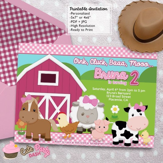 Barnyard Girl Birthday Party invitations DIY girly Farm