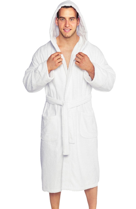 personalized men 39 s hooded terry bathrobe 100 cotton. Black Bedroom Furniture Sets. Home Design Ideas