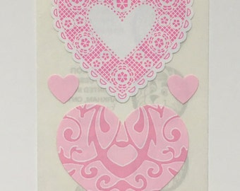 Vintage Sandylion Pink Lace Heart Sticker Strip