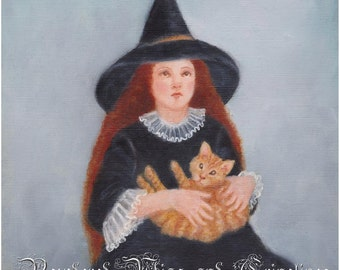 Witch and Ginger Cat, Witches' Black Hat Painting , Halloween Art Print