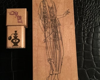 Peek a boo, bow,and perfume rubber stamps
