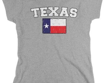 Distressed Texas State Flag Ladies's T-Shirt, Texan Pride, The Lone Star State, Austin, Women's Texas Shirts AMD_0595