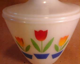 FIRE KING Tulip Design  Covered Bowl, 1950s