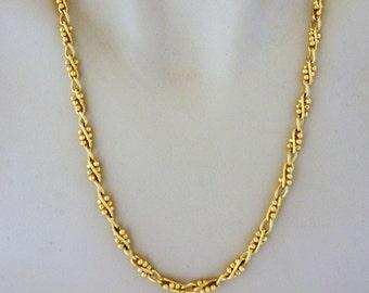 "Vintage Boho Chic Chain Link Statement Necklace Ornate Retro Gold Tone 24"""