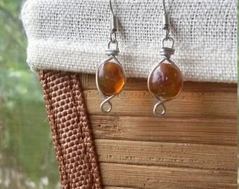Amber Gemstone Handwrapped Silver Metal Earrings