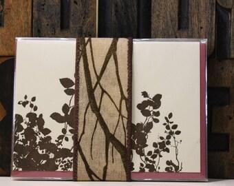 Set of 4 Leaves Letterpress Cards