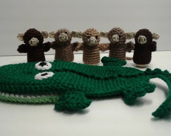 Crochet Five Little Monkeys Finger Puppets with Alligator